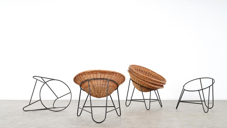 4 Modernist Wicker Chair in style of Mathieu Matégot circa 1950, France Tripod For Sale 6