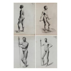 4 Nude Drawings After a Live Model by V. Geoffroy, Circa 1895
