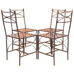 4 Orangery Dining Chairs Industrial Anodized Wrought Steel