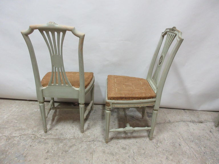 Wood 4 Original Paint Swedish Gustavian Side Chairs For Sale