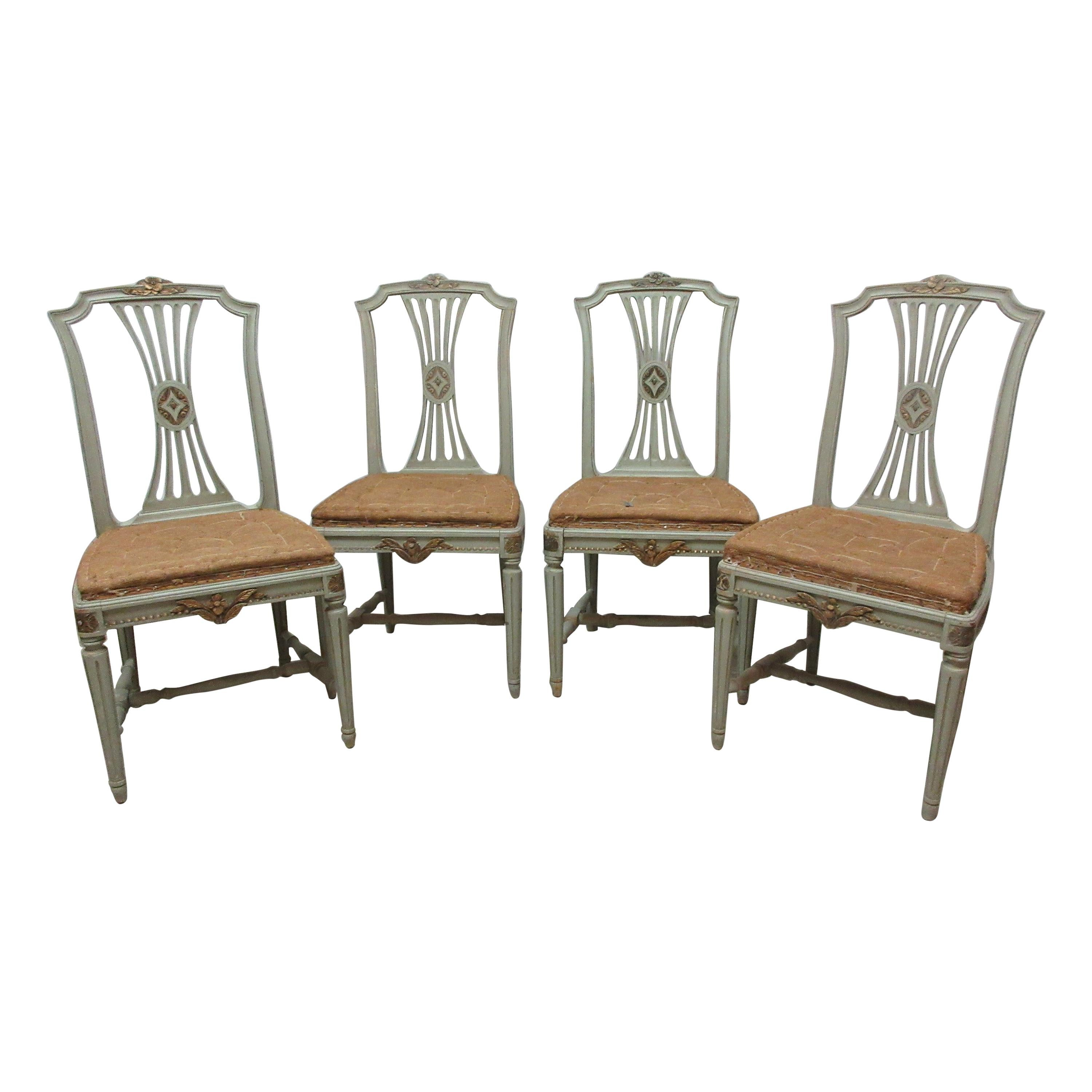 4 Original Paint Swedish Gustavian Side Chairs