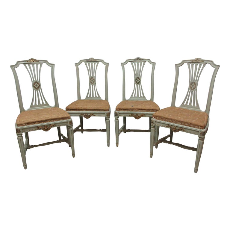 4 Original Paint Swedish Gustavian Side Chairs For Sale