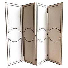 4-Panel Folding Screen, Art Deco Style, Linen and Decorative Nails