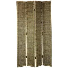 4-Panel Rattan Room Divider