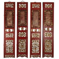 4-Panel Red and Gold in Openwork Wood and Carved Fruit, Flowers and Symbols