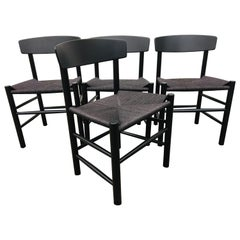 4 Pieces Borge Mogensen J39 Dining Chair, Black Lacquer