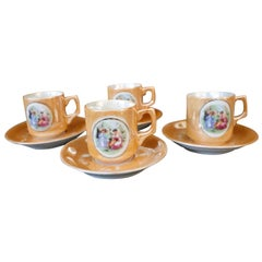 4 Petite Mother of Pearl Iridescence Hand Painted Tea Cups and Saucers