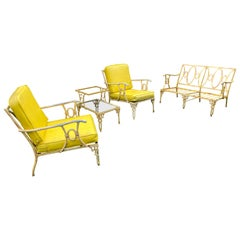 4 Piece 1950s Faux Bamboo Garden Furniture Set