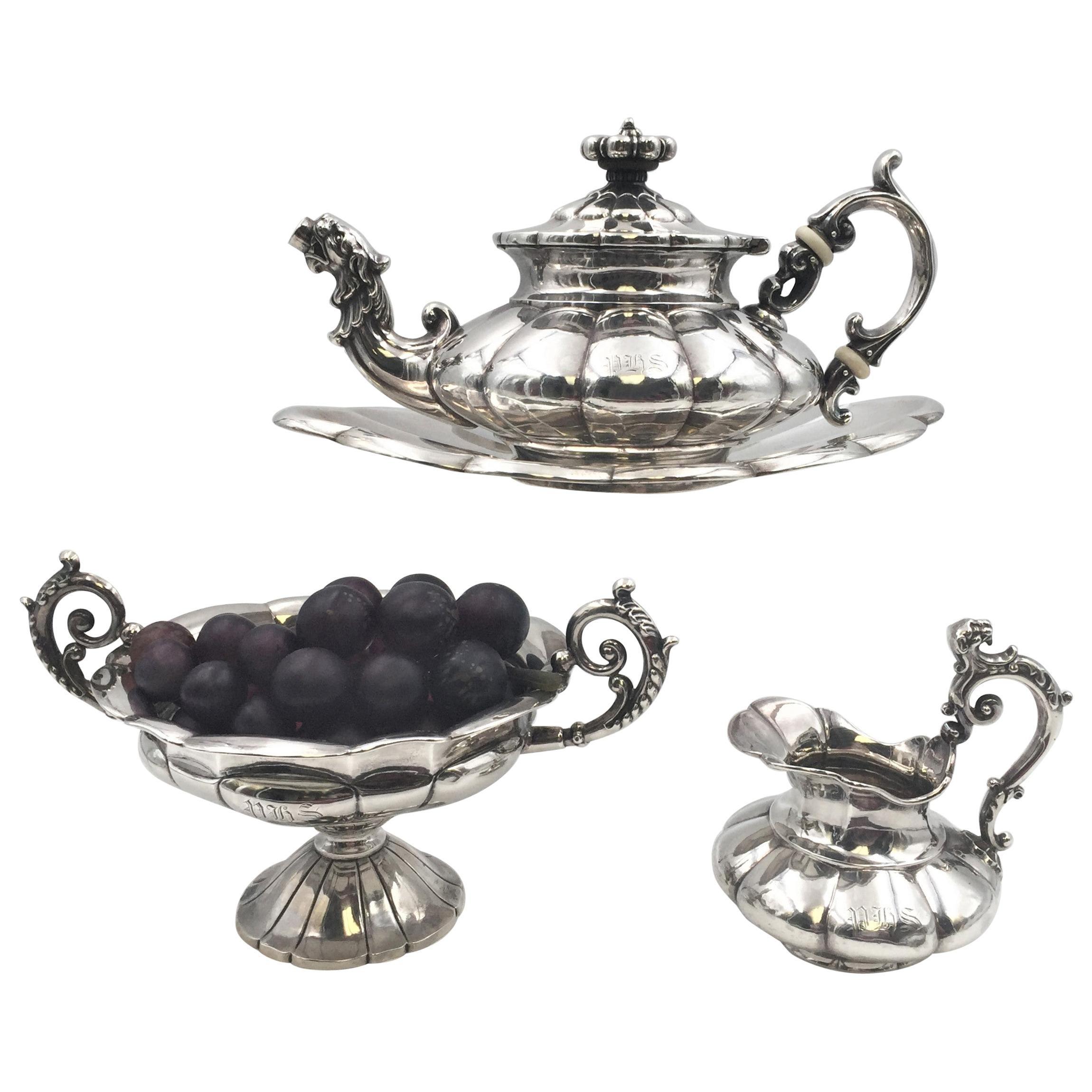 4-Piece 19th Century Continental Silver Dutch Demitasse Tea Coffee Service