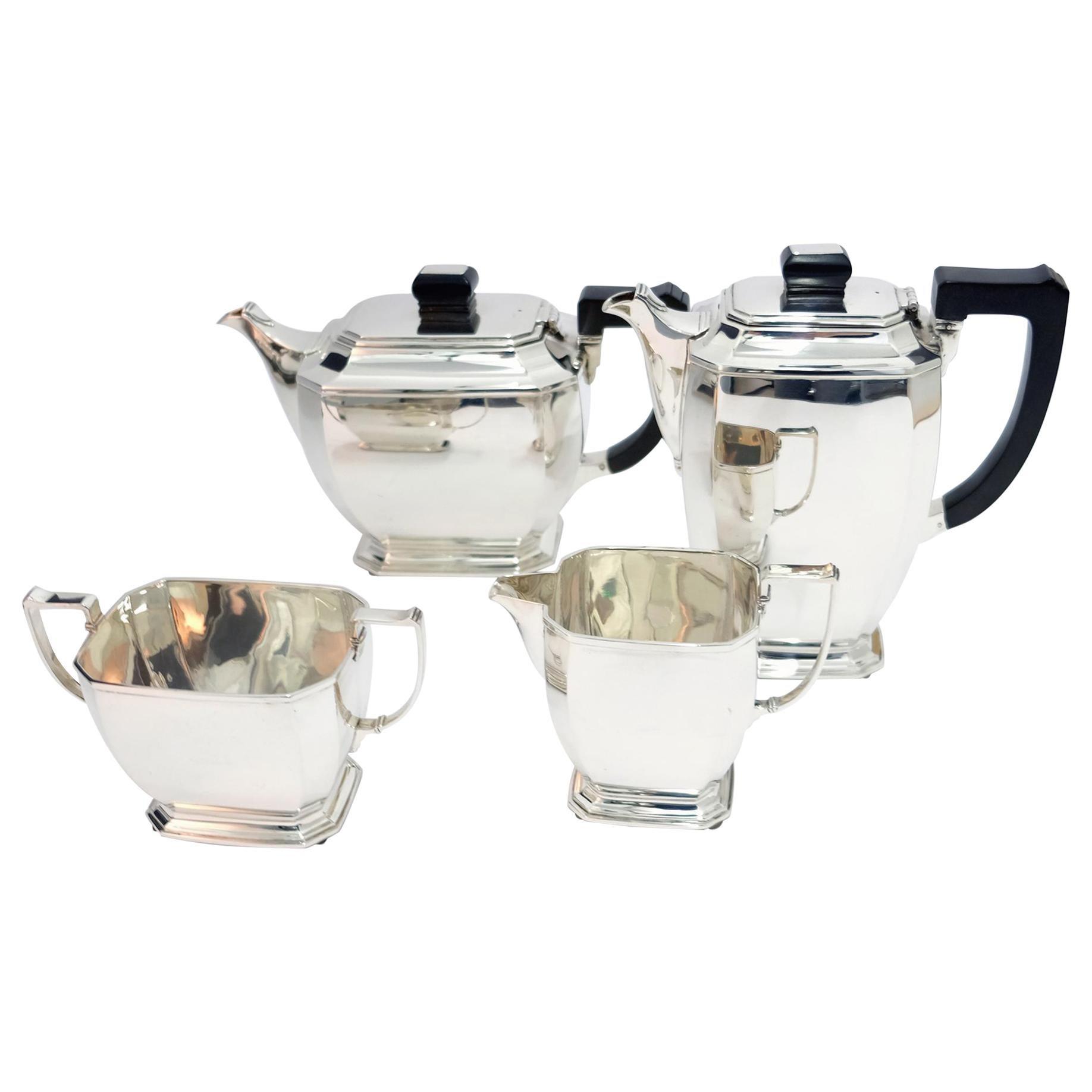 4-Piece Art Deco Silver Tea and Coffee Service