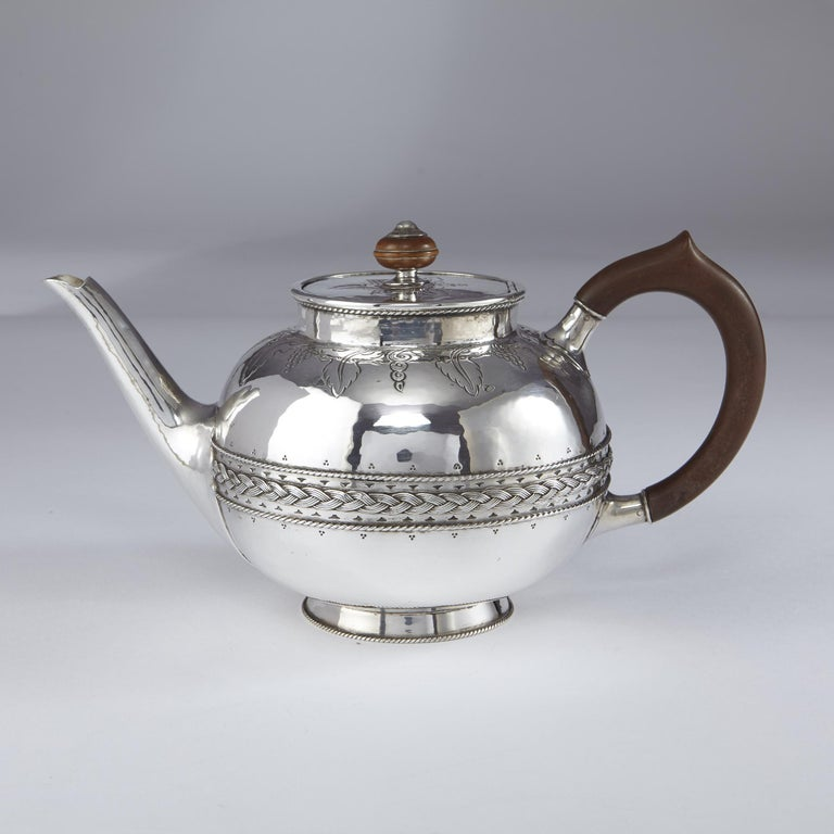 Arts and Crafts 4-Piece Silver Tea and Coffee Set by Liberty For Sale