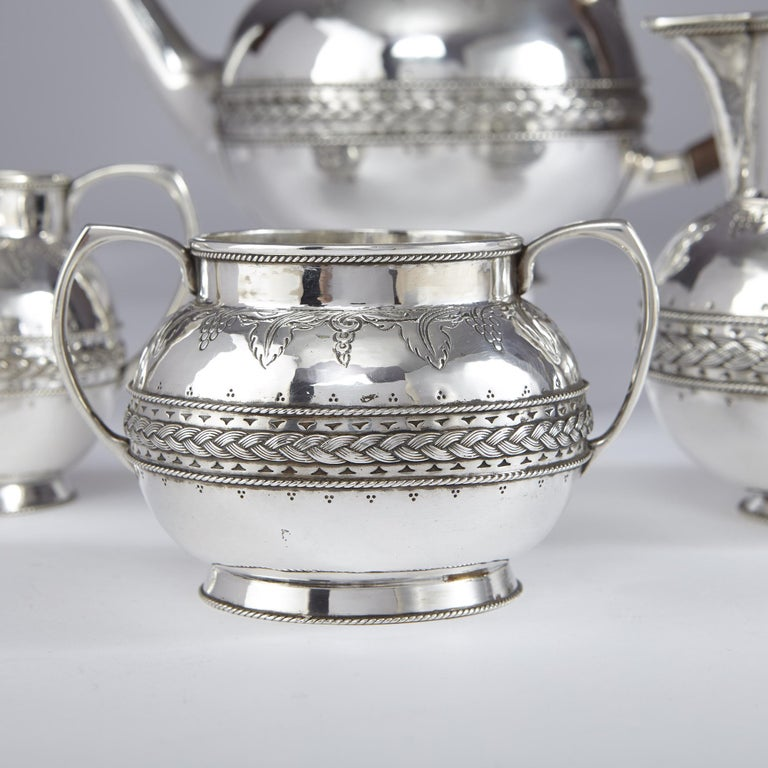 4-Piece Silver Tea and Coffee Set by Liberty In Good Condition For Sale In London, GB