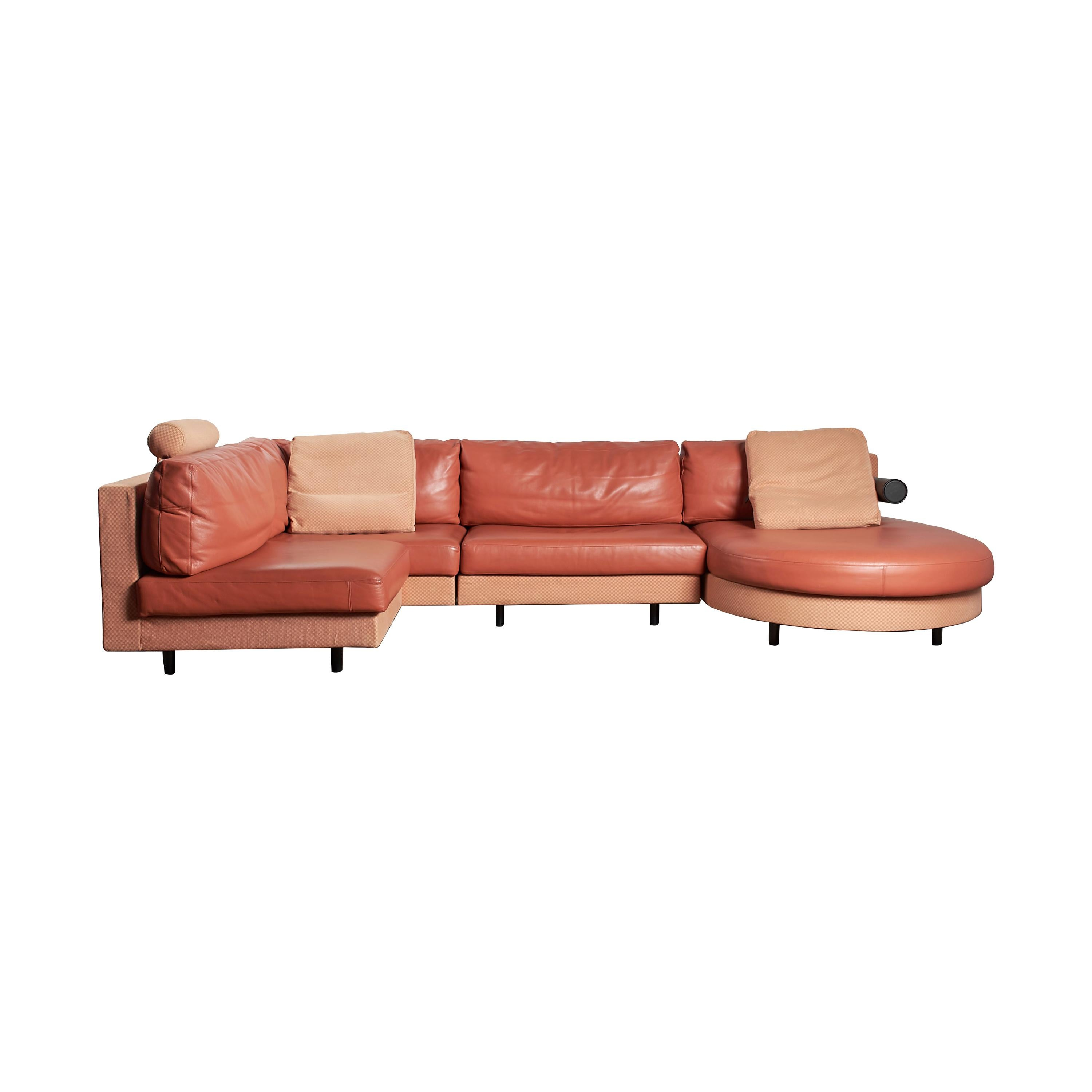 """4-Piece """"Sity"""" Sectional Sofa in Terracotta Leather by Citterio for B&B Italia"""
