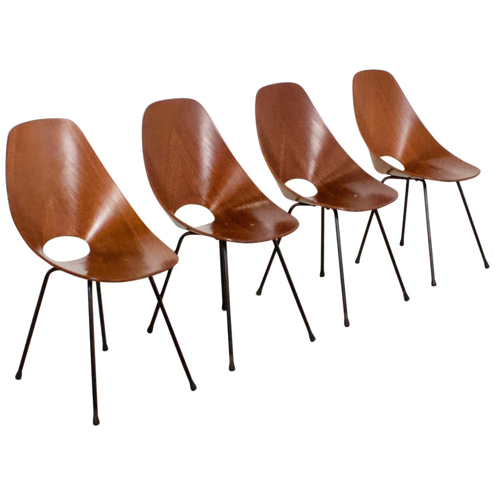 4 Plywood Vittorio Nobili 'Medea' Chairs, Italy, 1955