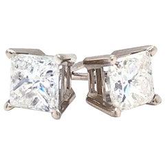 1.45Ct Princess Cut Diamond Basket Stud Earrings 14k Gold 4 Prong Screw Back