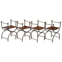 4 Rare Iron Brown Leather Italian Savonarola Directors Chair Stools Part Suite