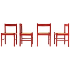4 Red Carimate Chairs by Vico Magistretti for Cassina, 1960s