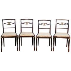 4 Regency Ebonised Dining Chairs Trafalgar, 19th Century
