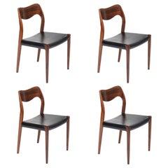 4 Rosewood Niels O. Møller Dining Chairs Model 71 by J.L. Møllers Møbelfabrik