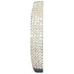 4 Row of Diamonds Hinged Bangle with Approximate 4.25 Carat