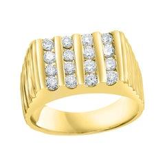 4 Row Unisex Diamond Band Engagement Ring in 14 Karat Yellow Gold