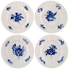 4 Royal Copenhagen Blue Flower Angular Plates, Decoration Number 10/8518