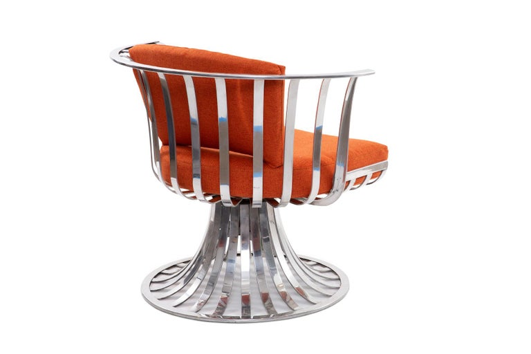 Mid-Century Modern 4 Russell Woodard Polished Aluminum Lounge Chairs For Sale