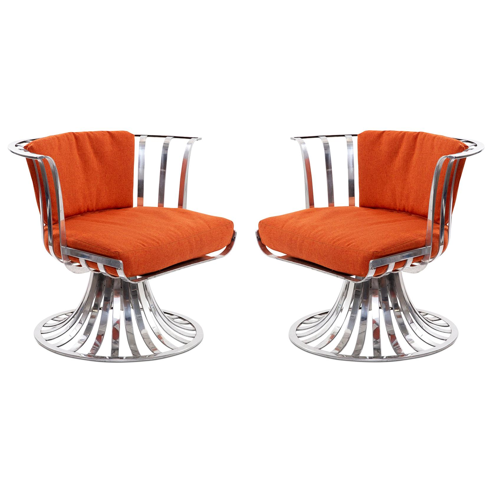 4 Russell Woodard Polished Aluminum Lounge Chairs