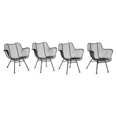 4 Sculptura Lounge Chairs with Arms by Russell Woodard Black Woven Wire Restored
