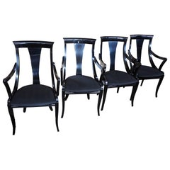 4 Sculptural Black Lacquer Dining Chairs by Pietro Costantini Italy Ello MCM Vtg