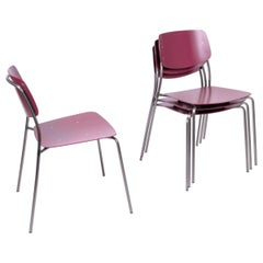 4-Set Aubergine/Wine, Felber C18 Purple Dining Chairs by Dietiker