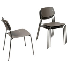 Le Corbusier Brown,  Felber C18 Indoor/Outdoor chairs by Dietiker , Set of 4