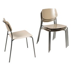 Le Corbusier Tan,  Felber C18 Indoor/Outdoor chairs by Dietiker , Set of 4