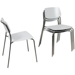 Le Corbusier Light Gray,  Felber C18 Indoor/Outdoor chairs by Dietiker ,Set of 4