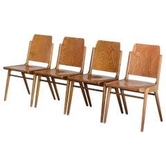 4 Set of Original Austro Chairs by Franz Schuster for Wiesner Hager Austria 1959