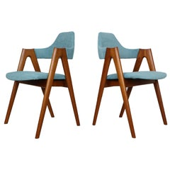 4, Set of Two Teak Compass Chairs by Kai Kristiansen for SVA Møbler