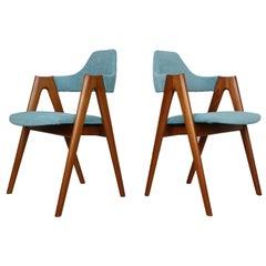 4er-Set von zwei Teak-Kompass-Stühlen von Kai Kristiansen für SVA Møbler
