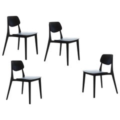 4 Set Swiss Designer Felber Chairs in Black Beech, Exchangeable Back and Seat
