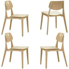 4 Set Swiss Designer Felber Chairs in Natural Beech, Patented Connection