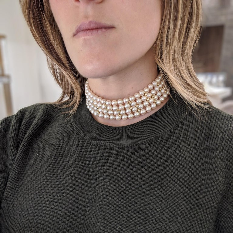 4 Strand AAA Japanese Cultured Pearl Choker with 18 Karat Gold and Diamonds In New Condition For Sale In New York, NY