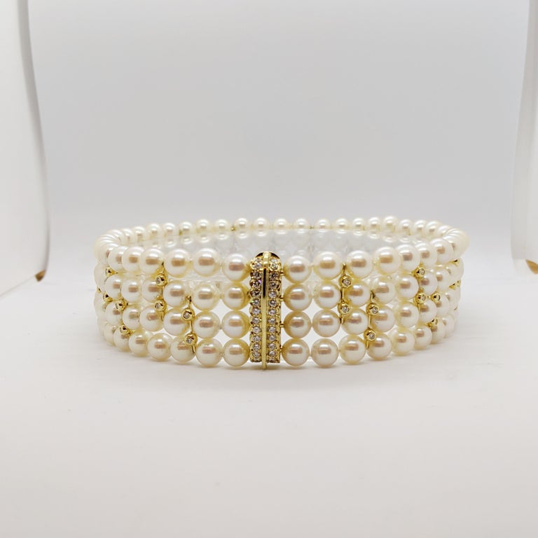 Women's or Men's 4 Strand AAA Japanese Cultured Pearl Choker with 18 Karat Gold and Diamonds For Sale