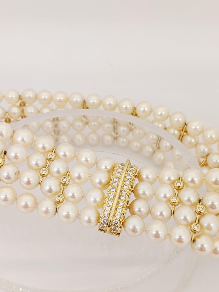 4 Strand AAA Japanese Cultured Pearl Choker with 18 Karat Gold and Diamonds For Sale 1