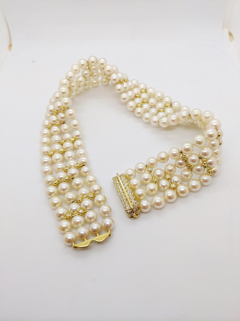 4 Strand AAA Japanese Cultured Pearl Choker with 18 Karat Gold and Diamonds For Sale 2