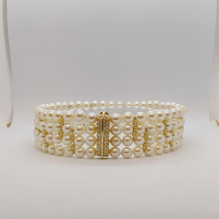 4 Strand AAA Japanese Cultured Pearl Choker with 18 Karat Gold and Diamonds For Sale 3