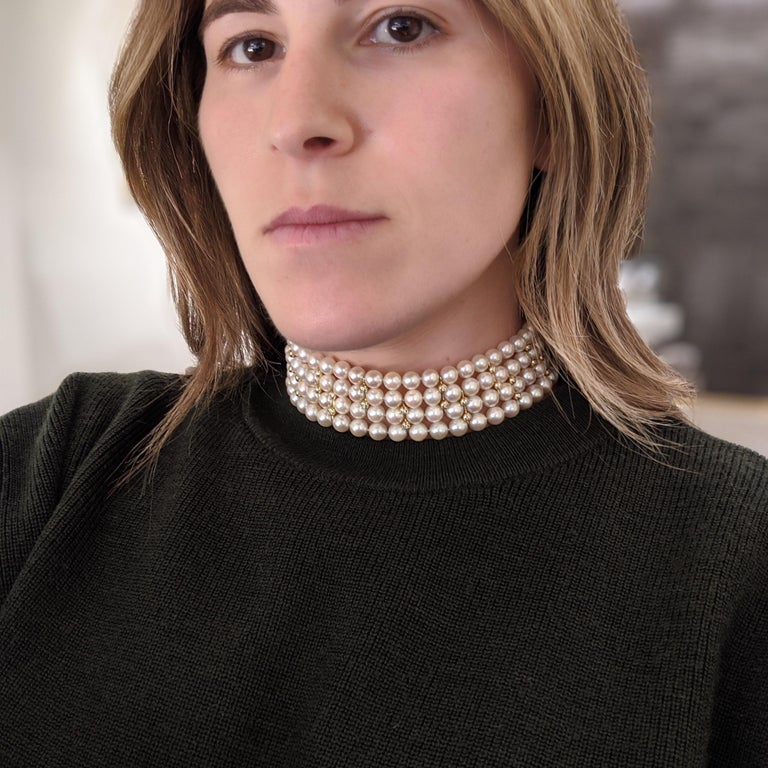 4 Strand AAA Japanese Cultured Pearl Choker with 18 Karat Gold and Diamonds For Sale 4