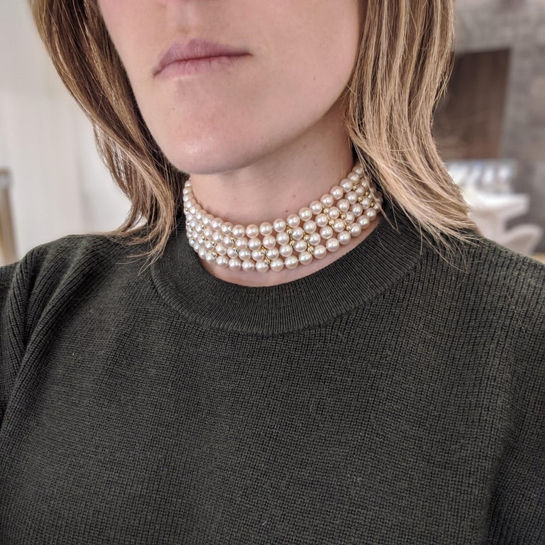 4 Strand AAA Japanese Cultured Pearl Choker with 18 Karat Gold and Diamonds For Sale 5