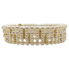 4 Strand AAA Japanese Cultured Pearl Choker with 18 Karat Gold and Diamonds