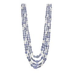 4-Strand Graduated Iolite, Moonstone Beaded Necklace with Yellow Gold, 94 Grams