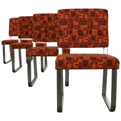 4 Streamline Modern Railroad Dining Car Chairs Stainless Steel and Orange Fabric