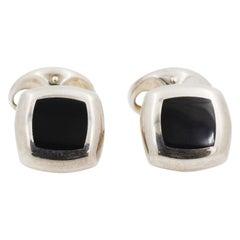 4 Stud Set Cushion Silver Black Onyx Cufflinks